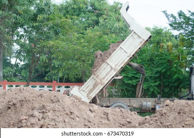 Dump truck to soil to improve the soil. For construction