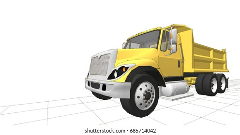 Dump truck,3d illustration, sketch