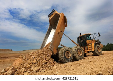 dumper in action in a quarry
