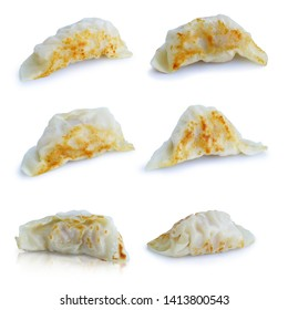 Dumpling pot stickers chinese style Shrimp Juicy fried gyoza isolated on white background. This has clipping path.