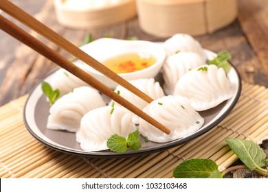 dumpling and sauce