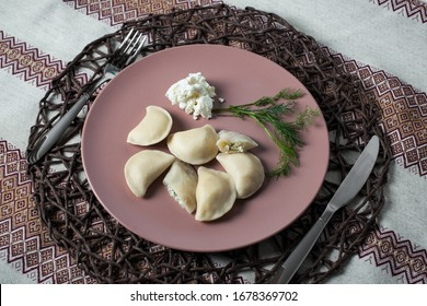 dumplings with cheese, homemade traditional Ukrainian dish varenyky