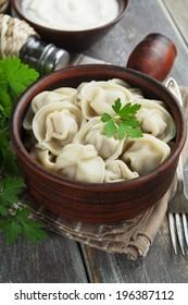 Dumplings with meat.  Pelmeni russian national dish