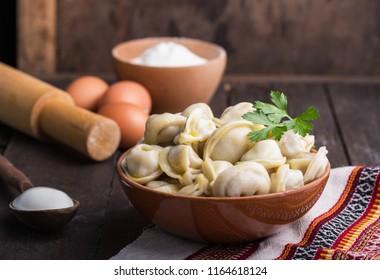 Dumplings with meat.  The Russian national dish Pelmeni