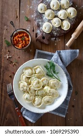 Dumplings with meat, spiced with pepper and dill. The Russian national dish Pelmeni
