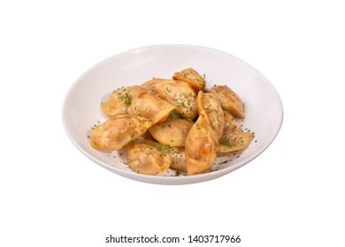 Dumplings on the white background