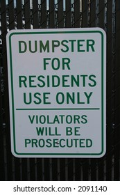 dumpster for residents only sign violators will be prosecuted
