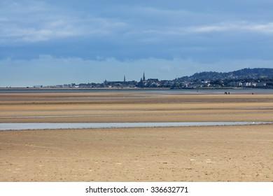 Dun Laoghaire and Blackrock area of Dublin as seen from the Sandymount Beach