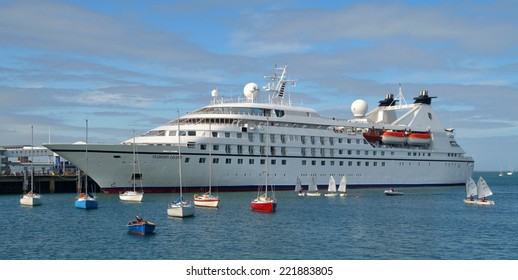 DUN LAOGHAIRE, IRELAND - AUGUST 31: The Cruise Ship Seabourn Legend moored at Dun Laoghaire Harbour's Carlisle Pier on August 31, 2014 in Dun Laoghaire, Ireland.