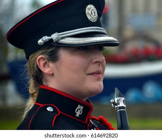 DUN LAOGHAIRE, IRELAND - MARCH 31: A member of Irish Army Number 1 Band at a ceremony to confer Freedom of Entry to County Dublin for the Irish Navy on March 31, 2017 in Dun Laoghaire, Ireland.