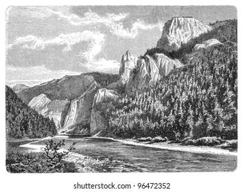 Dunajec river in the Pieniny mountains (Poland) / vintage illustration from Meyers Konversations-Lexikon 1897