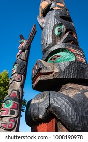 """Duncan, BC, Canada, September 22, 2017 -Beautifully carved & colorfully painted First Nations totem pole found in Duncan aka """"The City of Totems"""", located on Vancouver Island in the Cowichan Valley."""