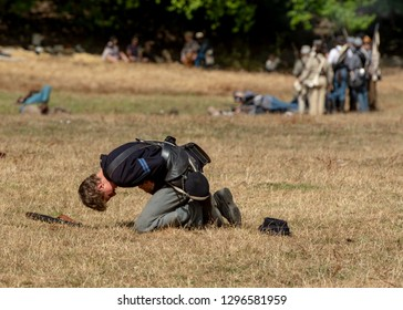 Duncan Mills, CA - July 14, 2018: Wounded soldier at a Northern California's Civil war reenactment. The Civil War Days is one of the largest reenactment events on the West Coast and happens every year