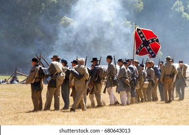 Duncan Mills, CA - July 16, 2017: Unidentified participants at Northern California's largest Civil war reenactments and one of the largest west of the Mississippi. A two day living history experience.