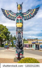 "DUNCAN,CANADA - JULY 5,2018 - View of totems in Duncan. Duncan is ""The City of Totems"". The city has 80 totem poles around the entire town."