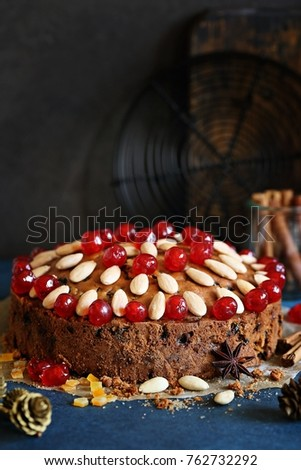 traditional scottish christmas cake with dried fruitsalmond and spices festive