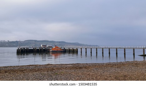 Dundee, Scotland - 9th April 2018: The Elizabeth of Glamis Trent Class Lifeboat moored peacefully at Broughty Ferry Lifeboat Station and Pier just up the Tay Estuary from Dundee, Scotland.