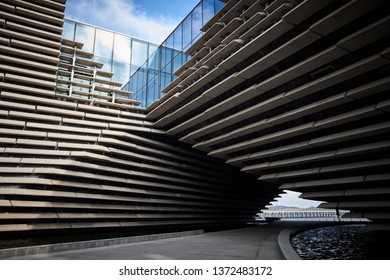 Dundee / Scotland - April 14th 2019: The exterior of the Victoria & Albert Museum in Dundee, Scotland.
