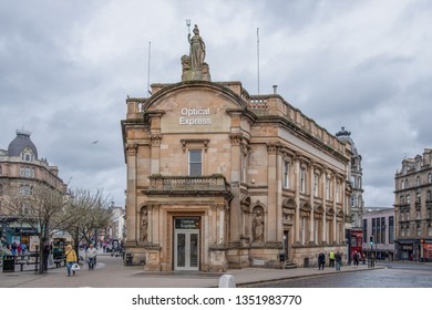 Dundee, Scotland, UK - March 22, 2019: The impressive architecture of what was the old Clydesdale Bank now Optical Express in Dundee Scotland.