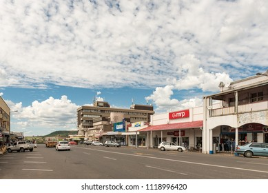 DUNDEE, SOUTH AFRICA - MARCH 21, 2018: A street scene with businesses and vehicles in Dundee in the Kwazulu-Natal Province