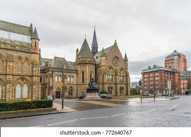 Dundee,Scotland,UK-Dercember 05,2017: The city centre of Dundee with the McManus Galleries and Queen Victoria's Statue.