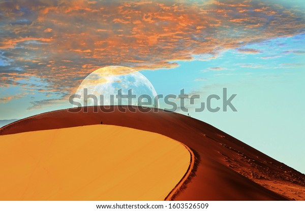 Dune 45 in the Namib Naukluft at dusk with the moon peeping over the top of the bright orange peak