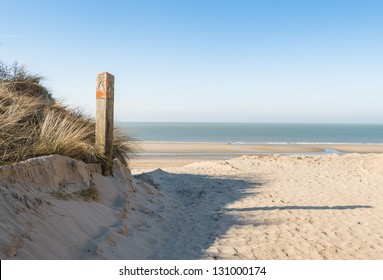 Dune, beach and sea in the Netherlands on a sunny day in spring.