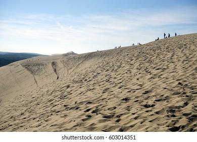 DUNE DU PILAT, AQUITAINE, FRANCE -NOVEMBER 1: Great Dune of Pyla, the tallest sand dune in Europe, on 1 November 2016, France.