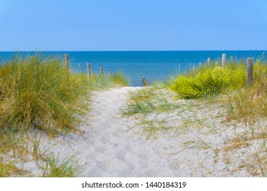 Dune landscape and beach on a bright summer day in Germany