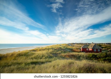 Dune landscape in Blavand, Denmark. In the foreground dune grass and a red wooden house, in the background the lighthouse.