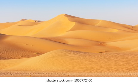 A dune landscape in the Rub al Khali or Empty Quarter. Straddling Oman, Saudi Arabia, the UAE and Yemen, this is the largest sand desert in the world.