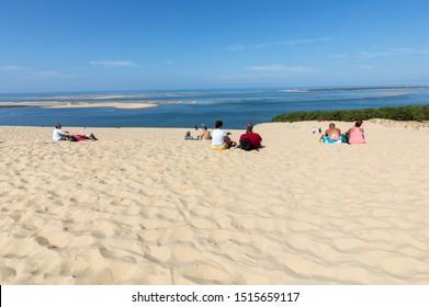 Dune of Pilat, France - September 10,2018: People on the Dune of Pilat, the tallest sand dune in Europe. La Teste-de-Buch, Arcachon Bay, Aquitaine, France