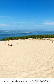 Dune of Pilat, France - September 10,2018: People on the Dune of Pilat, the tallest sand dune in Europe. La Teste-de-Buch, Arcachon Bay, Aquitaine, France