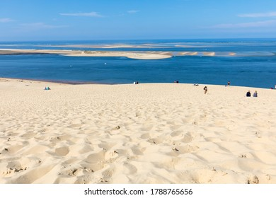 Dune of Pilat, France - September 10,2018: View from the Dune of Pilat, the tallest sand dune in Europe. La Teste-de-Buch, Arcachon Bay, Aquitaine, France