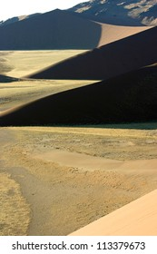 Dune shapes and shadows in the morning light, Sossusvlei, Namibia
