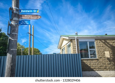 Dunedin , New Zealand, Feb 10th, 2019: Baldwin Street, New Zealand. The steepest street in the world