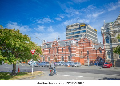 Dunedin , New Zealand, Feb 10th, 2019: former Dunedin Police and Prison, The city centre view of Dunedin, the main city of Otago, full of England Style