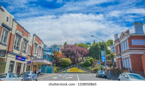 Dunedin , New Zealand, Feb 10th, 2019: The city centre view of Dunedin, the main city of Otago, full of England Style