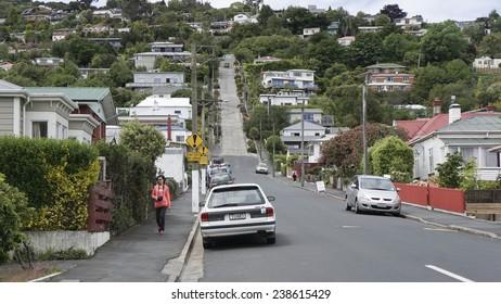 DUNEDIN, NEW ZEALAND - NOV 27, 2013: Baldwin Street, the worlds steepest road located in Dunedin on November 27, 2014