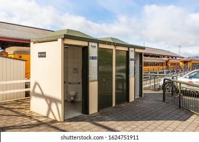 Dunedin, Otago, New Zealand - 12 December 2019: Public Toilets at Dunedin Main Station