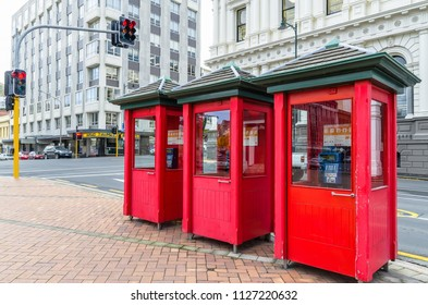 Dunedin,New Zealand - May 2,2016 : Red telephone booth in the street of Dunedin, New Zealand.