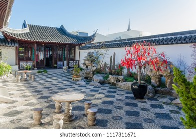 Dunedin,New Zealand - May 3,2016 : Historical building in The Dunedin Chinese Garden in New Zealand.
