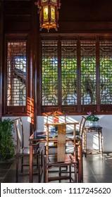 Dunedin,New Zealand - May 3,2016 : Interior view of The Dunedin Chinese Garden in New Zealand.