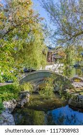 Dunedin,New Zealand - May 3,2016 : Lake of The Dunedin Chinese Garden in New Zealand.