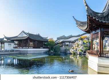 Dunedin,New Zealand - May 3,2016 : Main hall of The Dunedin Chinese Garden in New Zealand, it is a place for visitors to enjoy authentic Chinese tea and finger food.