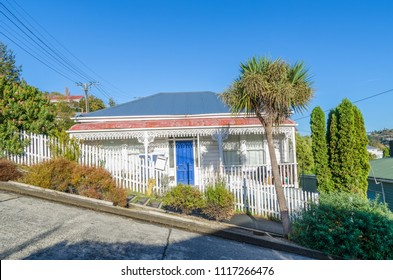 Dunedin,New Zealand - May 5, 2016 : Housing in the Baldwin Street which is located in Dunedin,New Zealand.It is the world steepest street in the world.
