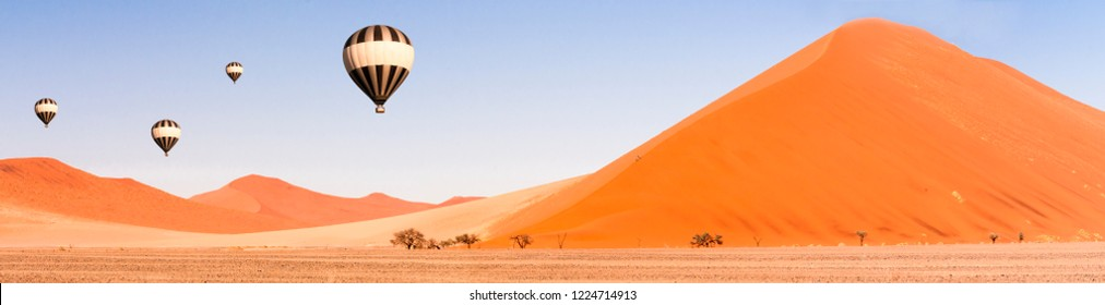 Dunes and Balloons in the Namib Desert to the horizon, Namibia, Africa./Dunes and Balloons in the Namib Desert