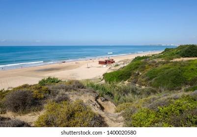 Dunes and beach at Playa de Los Lances, Costa de la Luz, Tarifa, Spain