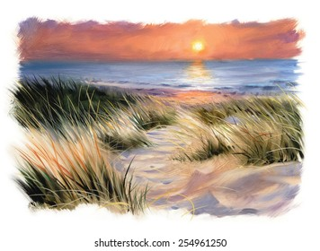 dunes beach sunset oil painting home decoration oil painting