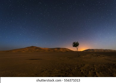 The dunes in Erg Chebbi in Morocco at night with the sky full of stars